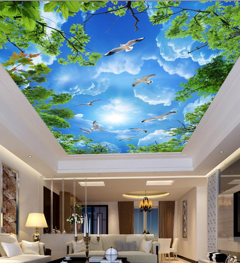 Home Improvement Ceiling Murals Wallpaper Blue sky white clouds green leaves Wall Covering paper blue sky and white clouds ceiling murals wallpaper living room bedroom hotel 3d ceiling wallpaper background