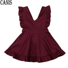 Summer Kids Baby Girls Dress Lace Party Dress Fly Sleeve Solid Dress Clothes