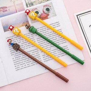 Image 3 - 24個スーパーかわいいスーパーメアリーゲルペン漫画クリエイティブな文房具キノコペン黒かわいい学校書き込みためのペンを提供