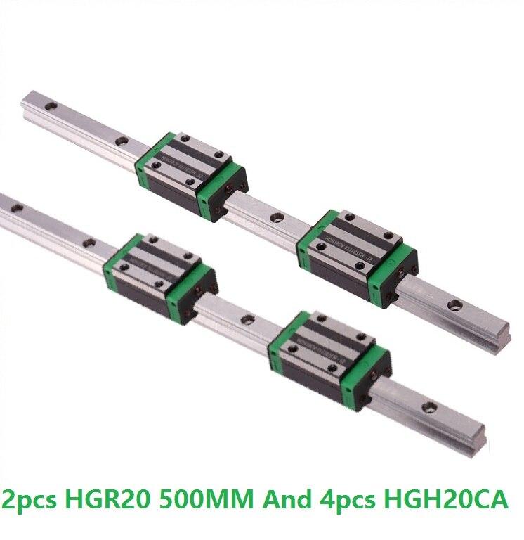 2 piezas de rodamiento de riel de gu/ía lineal de acero HGR20-500mm con bloque deslizante para proyectos de bricolaje y dispositivos autom/áticos