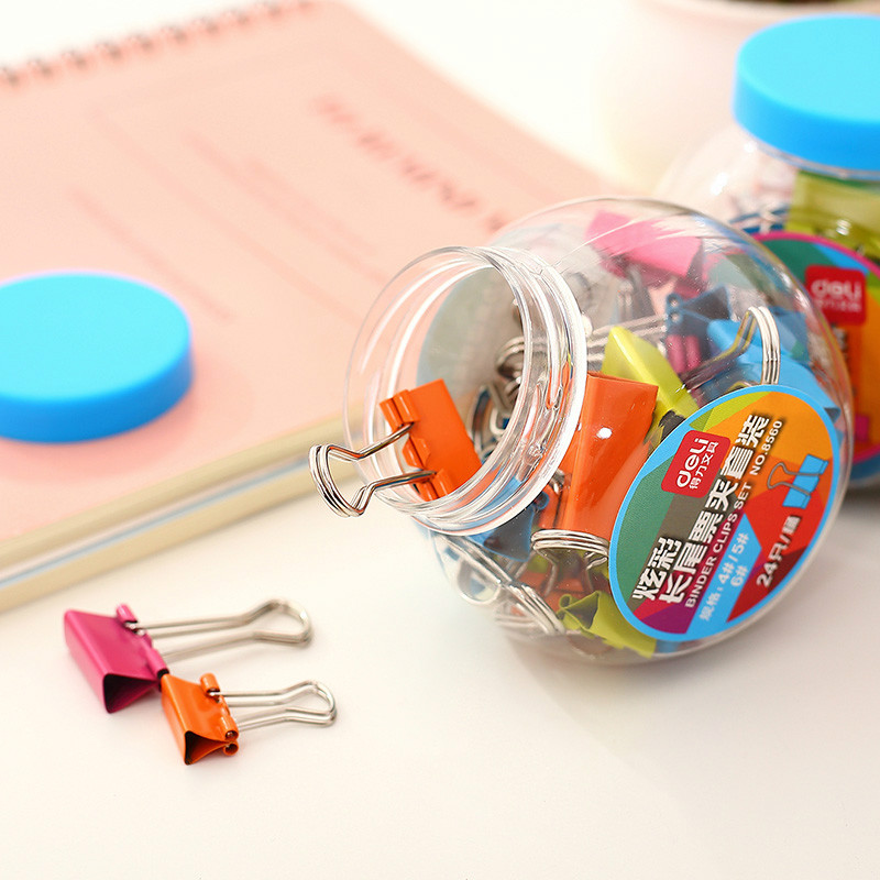 24pcs/lot Deli transparent color 15mm/19mm/25mm binder clips set clip holder dispenser wallet clip office stationery supplies deli binder clip 8552 four colors wallet file document paper note memo clips 24 pcs a pack office supplies stationery
