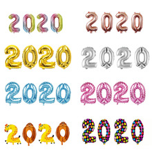 4 Uds. 2020 Globos de aluminio plateados Globos de aire de números decoraciones Navidad Feliz Año Nuevo 2020 Globos decoración de Año Nuevo