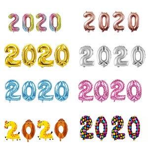 Image 1 - 4Pcs 2020 Aantal Folie Ballonnen Zilver Digit Air Ballonnen Kerstversiering Gelukkig Nieuwjaar 2020 Globos Nieuwjaar Decor