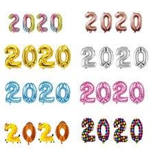 4pcs 2020 Numero Foil Palloncini argento Cifre Air Balloons Decorazioni Di Natale Felice Anno Nuovo 2020 Globos Nuovo Anno decorazione