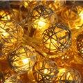 20 pcs LED 3 M Luzes Da Corda Festa de Casamento Funlife Mão Tecida Rattan Corda Lanterna Bola Bola de Natal Frete grátis (cor Mix)