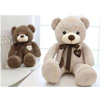 80cm/100cm large teddy bear plush toy cute huge stuffed soft bear wear bowknot bear kids toy birthday gift for girlfriend