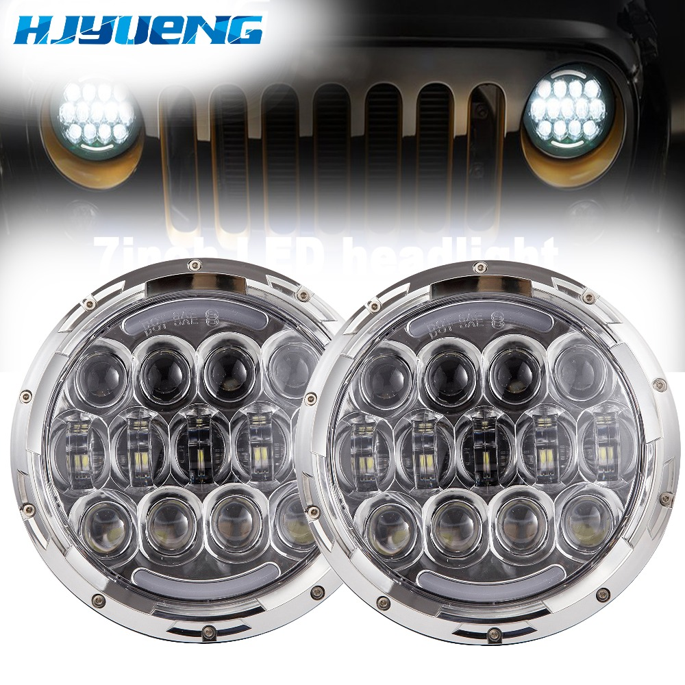 HJYUENG for Jeep Wrangler Hummer 4X4 4WD SUV auto Driving 105W 7inch round headlight Led Light Headlight Headlamp for Jeep 7 black chrome 2pcs 7inch round 105w led headlight drl turn signal for jeep wrangler hummer 4x4 4wd suv driving headlamp