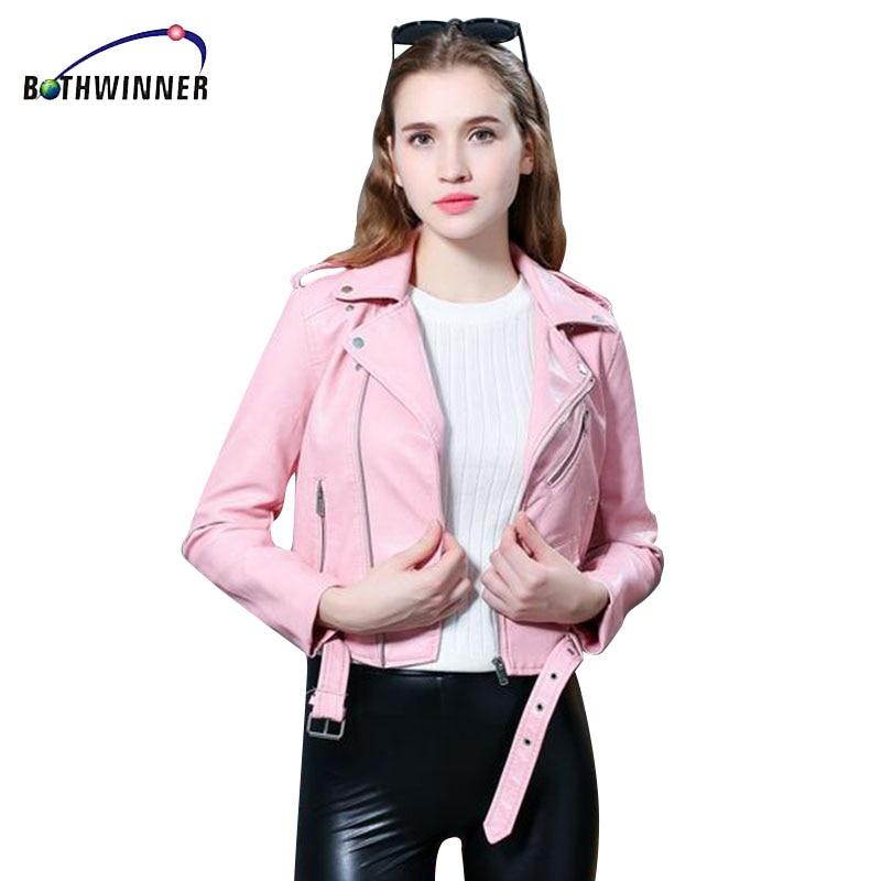 Bothwinner New Autumn Fashion Street Women's Short Washed PU Leather Jacket Zipper Bright Colors New Ladies Basic Jackets