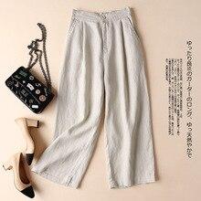 M-3XL 2019 Summer Women Linen Pants Plus Size Casual Cotton