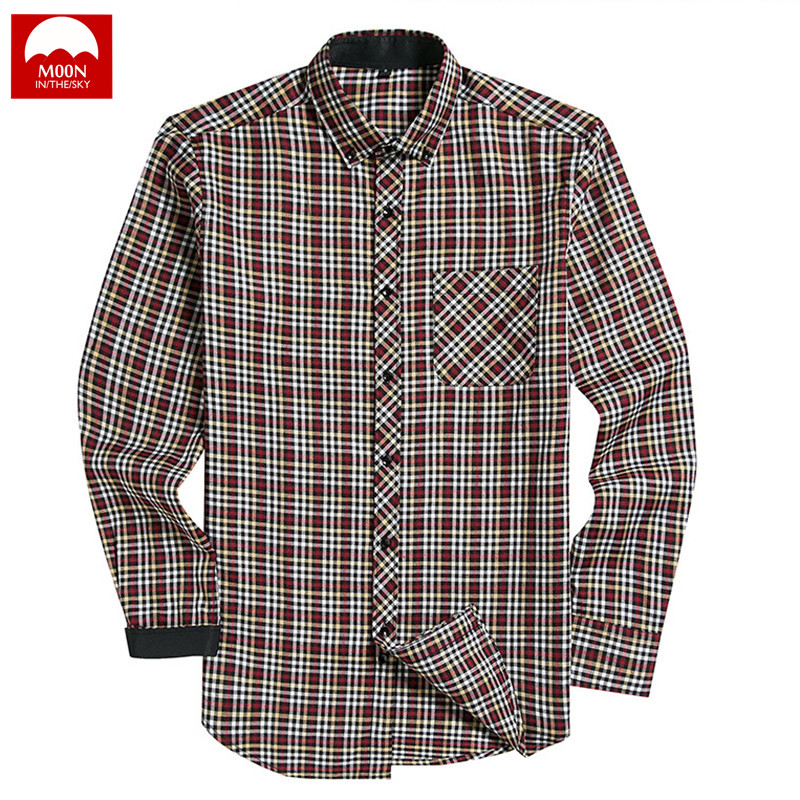 WSPLYSPJY Mens Standard-Fit Loose Long-Sleeve Plaid Button Down Blouses Shirt