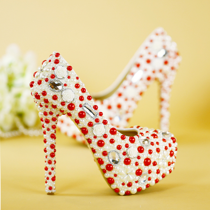 High heels shoes women's foreign crystal shoes red and white impact pearl water drill waterproof table wedding shoes bride shoes wedding shoes white diamond crystal pearl high heel waterproof table adult shoes wedding shoes bridal shoes