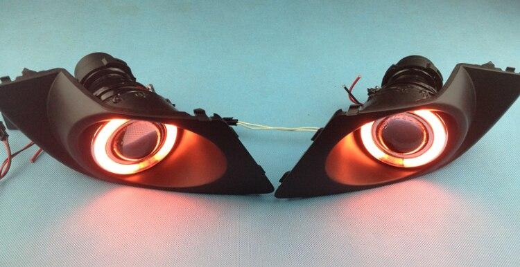 СИД DRL дневного света CCFL для глаза ангела, объектив проектора противотуманная фара с крышкой для Субару Легаси 2007-08, 2 шт
