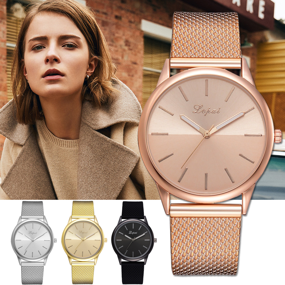 Lvpai Brand Silicone Band Quartz Watches For Women Luxury Rose Gold Simple Design Creative Bracelet Dress Clock Gift