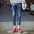 Mens Hole Ankle Length Denim Jeans Casual Slim Fit Stretch Pants Fashion Korean Style Men Feet Pencil Jeans 28-36