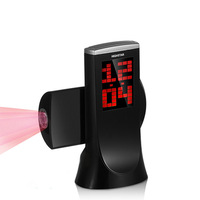 Creative Projection Clock Alarm 180 Degree Rotation Snooze Function Thermometer Countdown Clock Desk