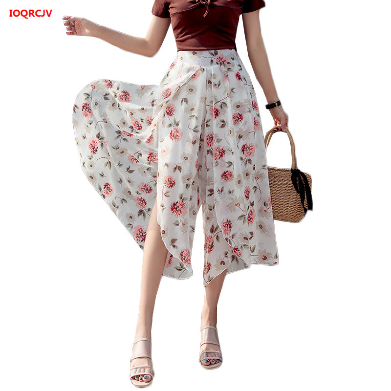 Summer Chiffon Wide Leg Pants For Women 2019 Korean Print Student Skirt Pants High Waist Beachwear Pant Female Plus Size 5XL 839
