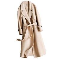 Двусторонний кашемировое пальто Для женщин зимняя куртка Для женщин ручной работы кашемир 100% сплошной цвет шерстяное пальто Для женщин дли