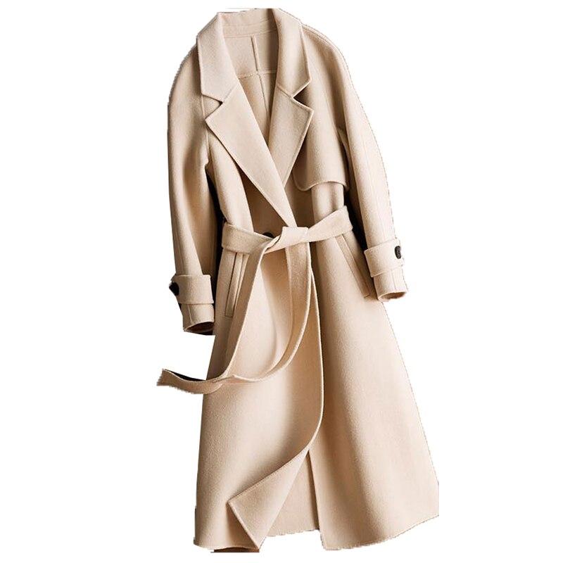 Double-faced cashmere mulheres casaco jaqueta de Inverno Mulheres Handmade Puro cashmere 100% casaco de lã das mulheres cor sólida longo overcoa