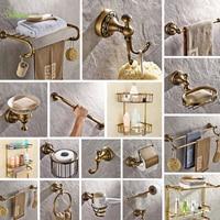 Antique soild brass carving bathroom accessories bronze round base wall mount bathroom hardware set toilet brush holder