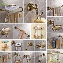 TT Antique soild brass carving bathroom accessories bronze round base wall mount bathroom hardware set toilet brush holder