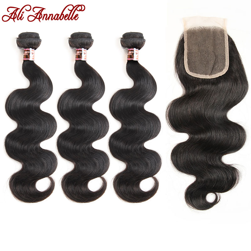 ALI ANNABELLE HAIR Indian Body Wave 3 Bundles with Closure 4pcs/lot 100% Human Hair Bundles with Closure Remy Hair Extension-in 3/4 Bundles with Closure from Hair Extensions & Wigs    1