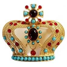 Panas 1 Pcs Unisex Wanita Pria Crown Bros Kerah Pin Perhiasan Hadiah Indah Mahkota Pin Bros Mantel Pin(China)