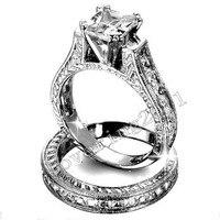Модные украшения под старину 2ct Принцесса Cut 5A камень циркон 14kt Белое золото заполнено 2 в 1 Обручение обручальное кольцо комплект Размеры 5 11