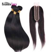 Модные женские бразильские прямые волосы плетение человеческих волос 3 пучка с 2x6 дюймов кружевной парик с пробором посередине 1b# не-Remy