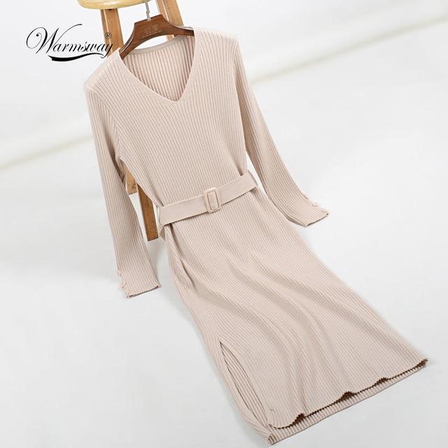 2018 Hot Sale Women Long Sleeve Knitted Button Split Dress Autumn Winter  Dress Ladies V-Neck Casual Party Dress With Belt C-234 6d8ecb7a2