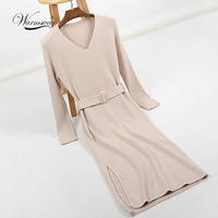 2018 Hot Sale Women Long Sleeve Knitted Button Split Dress Autumn Winter Dress Ladies V Neck Casual Party Dress With Belt C 234