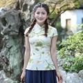 Fashion Summer Chinese Female Cotton Linen Blouse Lady Mandarin Collar Shirt Tops tang Clothing Size S M L XL XXL XXXL 2518-1