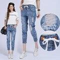Женщины Лето и осень шнурок эластичный пояс отверстие джинсовые брюки женские случайные джинсовой шаровары луч ноги женские брюки S2390