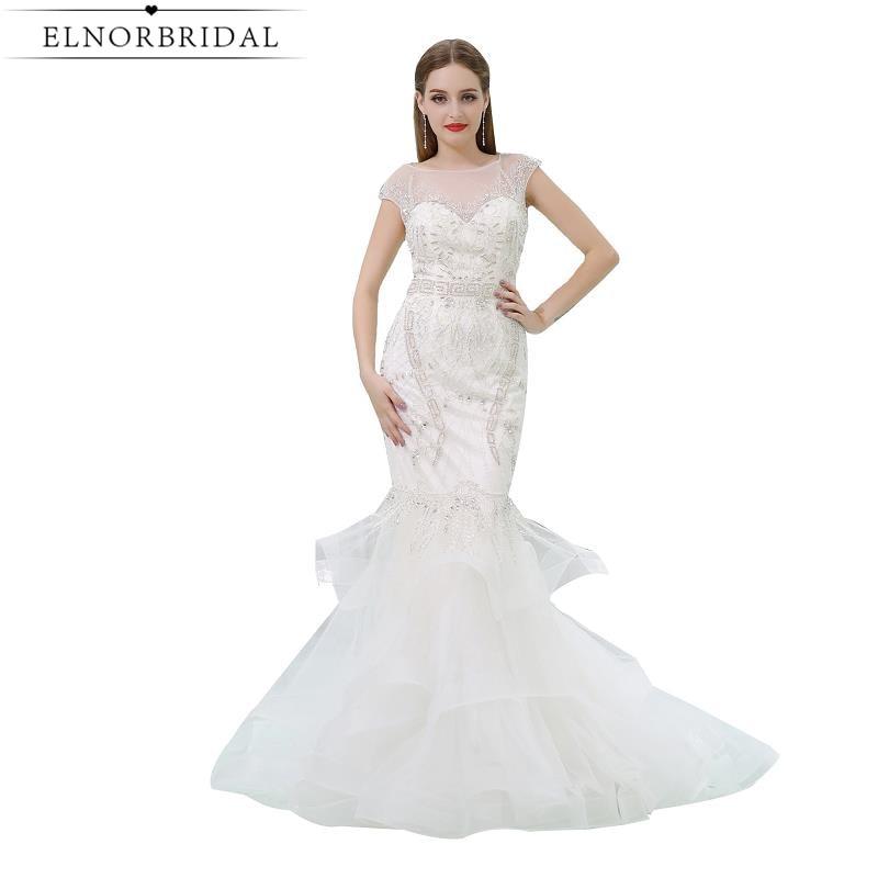 Modest Sheer Mermaid Wedding Dresses 2019 Robe De Mariee