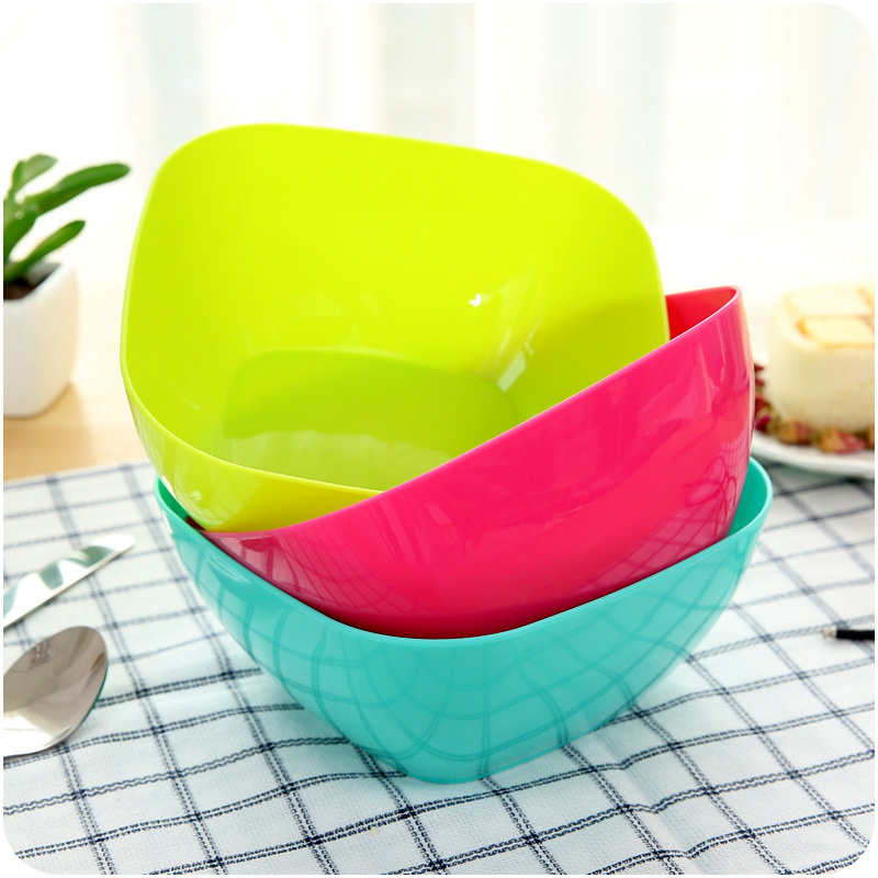 Creative Square Shape Icecream Container Solid Color Tableware Dinner Plates Round Shape Fruit Snack Sauce Bowl Kids Feed Food in Dishes Plates from Home Garden