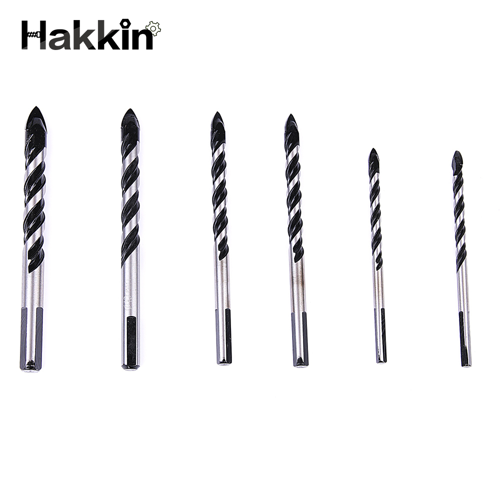 Hakkin 6Pcs 6/8/10/12mm Twist Spade Drill Bits Hole Saw For Ceramic Tile Concrete Glass Marble Spear Head Triangle Core Drilling 4 pieces tungsten carbide glass drill bits for ceramic tile marble mirror 6mm 8mm 10mm 12mm