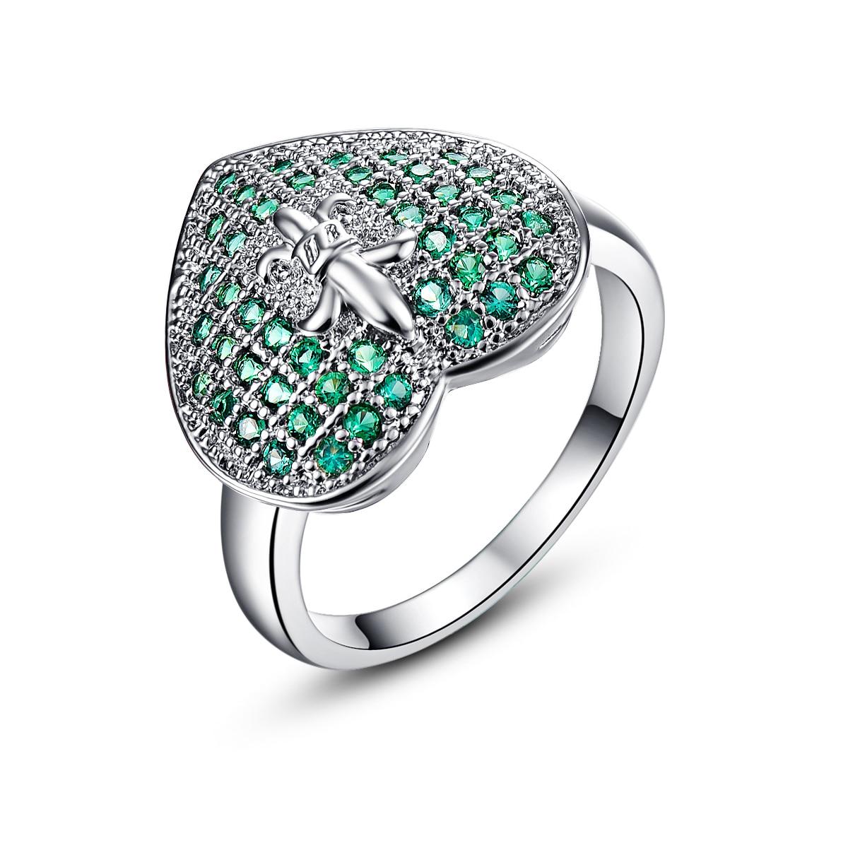 Lingmei Silver Plated font b Ring b font Ocean Hearts Green Created Emerald Crystal Heart Cut