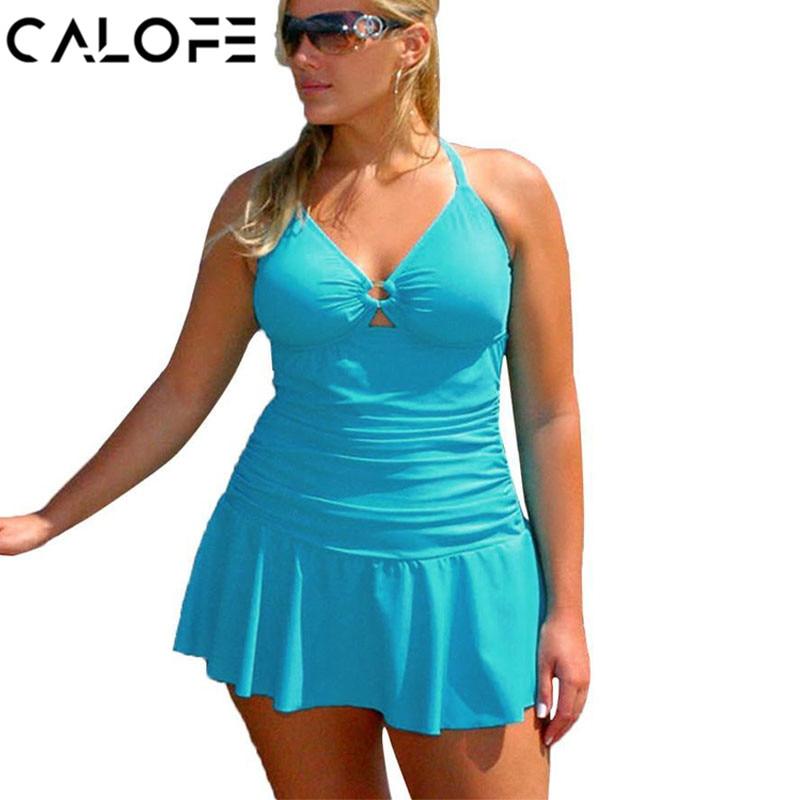CALOFE Sexy Plus Size One Piece Swimsuit Bikini Women Backless Large Size Skirt Female Strap Swimwear Dress for Fat Women 3XL4XL plus size halter backless one piece swimsuit