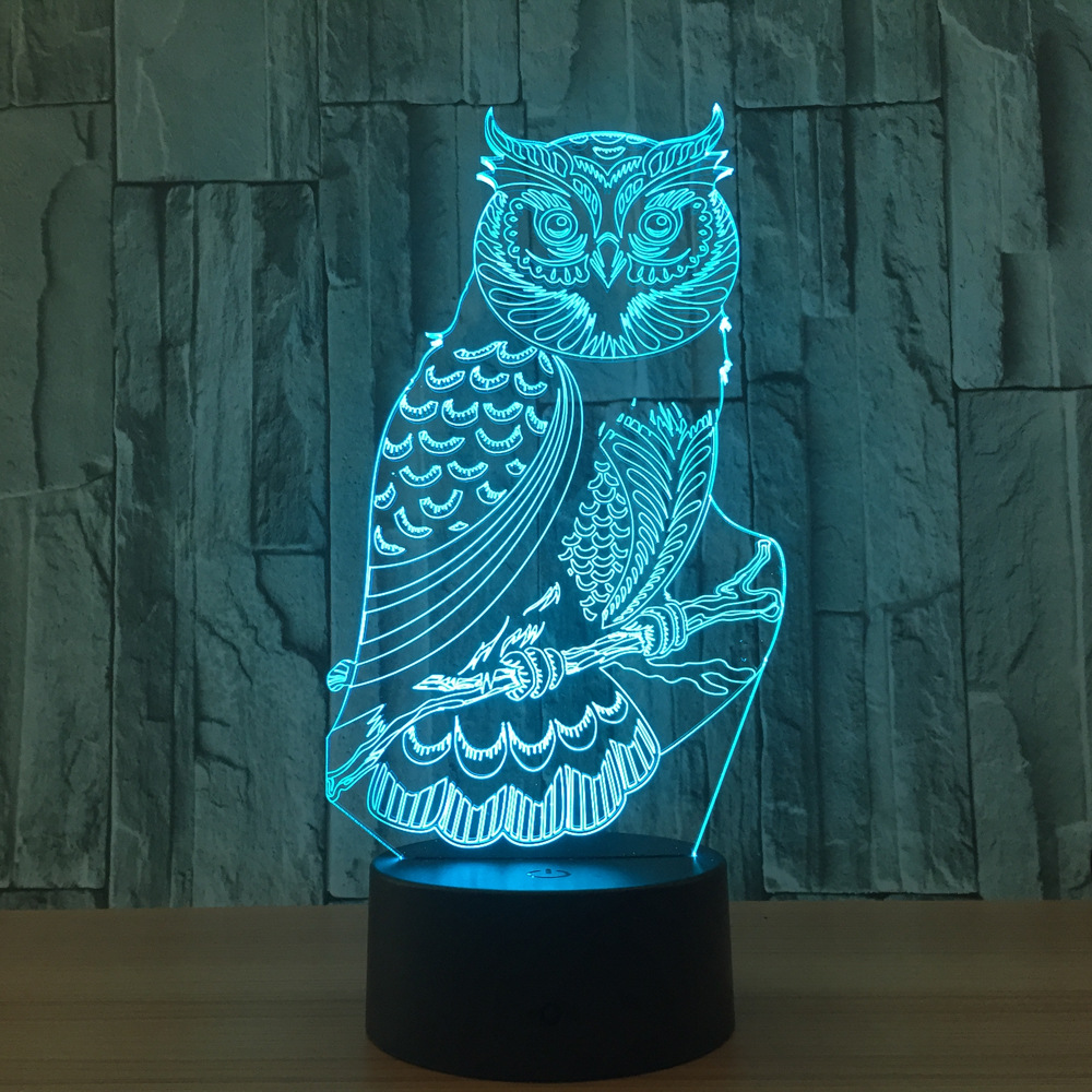 Acrylic 3D Owl Night light Led Table Lamp for Room Decoration Novelty Night lights for Child Gift USB Powered Touch Switch Lamp new bicycles 3d lights led 7 colorful remote control 3d lamp acrylic visual light novelty luminaria led night light