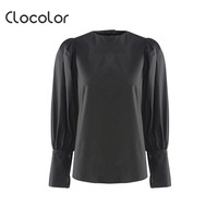 Clocolor Women S Shirt Black Round Neck Long Lantern Sleeve Pleated Button Top 2018 Modern Fashion