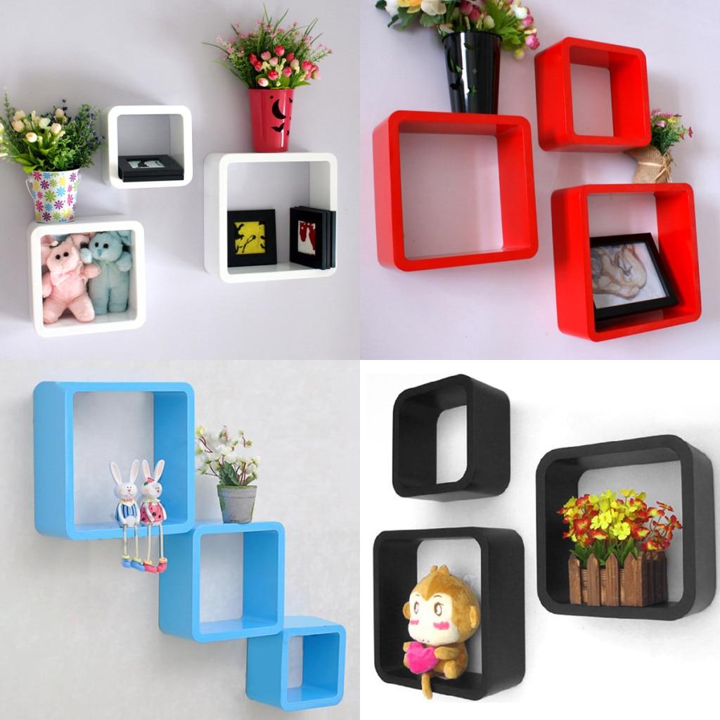 floating cube shelves, new set of 3 white & black square floating ...