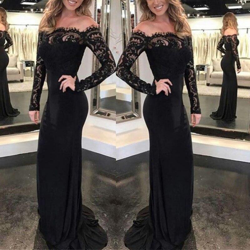 Fashion Lace Spliced Autumn Women Party Dress Sexy Slim Long Sleeve Elegant Long Maxi Dresses Women's Clothing S M L XL Xnxee 5