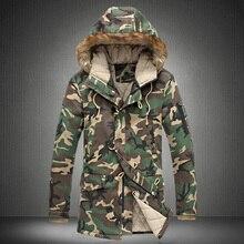 Мода камуфляж куртка мужчины военный средней длины мужская Одежда утолщение хлопка-ватник зимняя куртка мужчины с меховым капюшоном/MDY3