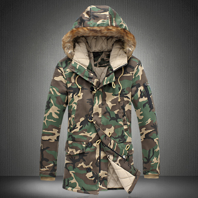Fashion camouflage parka men military medium-long Men's Clothing thickening cotton-padded winter jacket men with fur a hood/MDY3