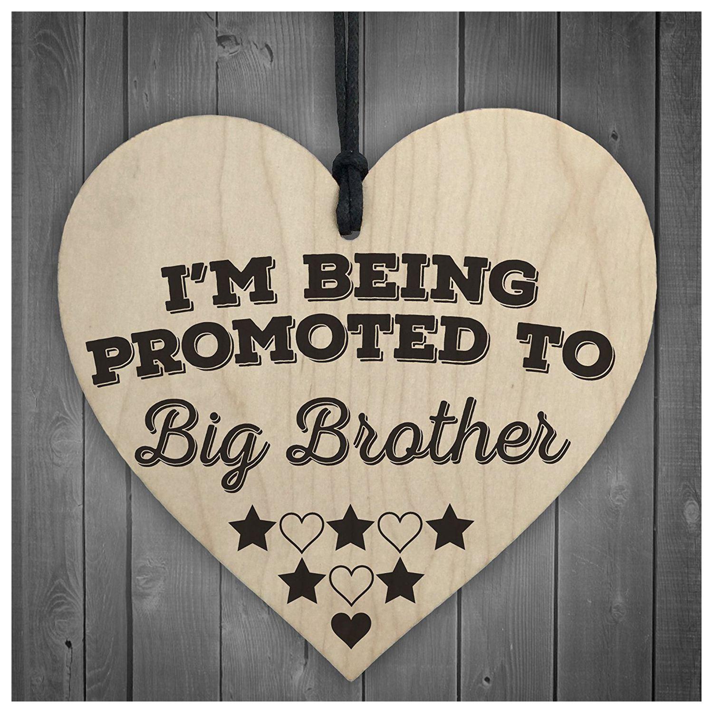 Горячие продажи будучи назначен большой брат деревянный висит сердце доска братья знак любви