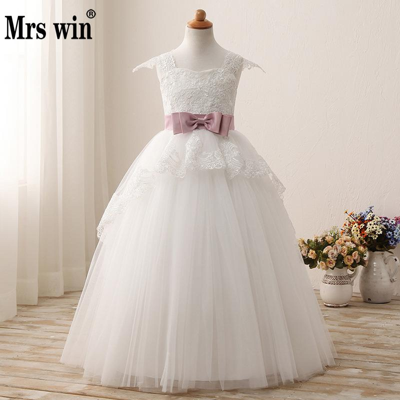 New Ivory Flower Girl Dresses For Wedding Party Elegant Lace Evening Party Pegant Dress Vestidos Ninas 2018 Vestidos De Comunion
