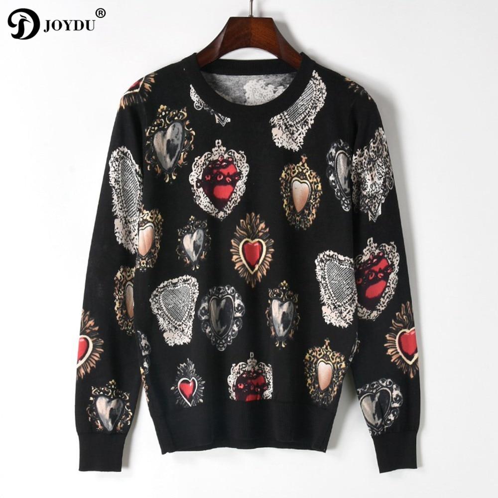 Vintage Runway Designer Brand Knitted Sweater 2018 Spring Pullover Gem Heart Print Long Sleeve Korean Fashion Black Jumper