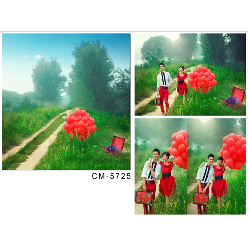 Wedding Photography Backdrops Forest Flowers Computer Printing Background Red Balloon Woodland Path Backgrounds for Photography