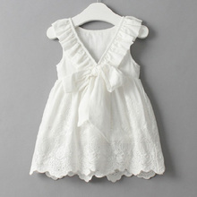 цены на Backless V Neck Big Bow Baby Girl Cotton Dress Summer Sleeveless Princess Party Lace Cute Girls Dress Toddler Kid 0-7Y  в интернет-магазинах