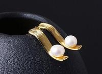 Sterling S925 925 silver ear stud pearl for woman earring trendy 5.8*21mm