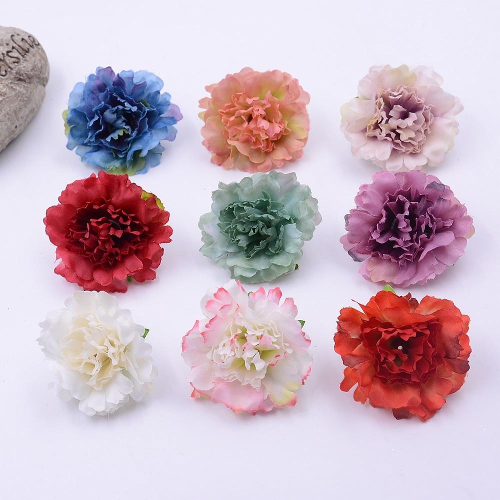 20pcs 45 Cm Artificial Silk Carnation Flower Head Wedding